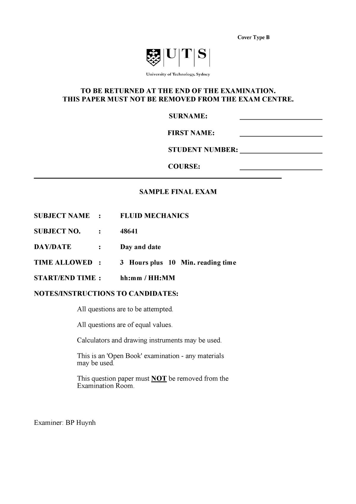 Exam 2016 - 048641 : Fluid Mechanics - StuDocu