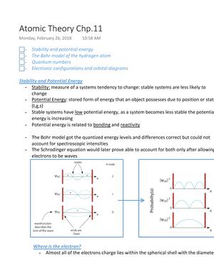 Atomic Theory Chp 11 - CHEM-0100: Foundations of Chemistry - StuDocu