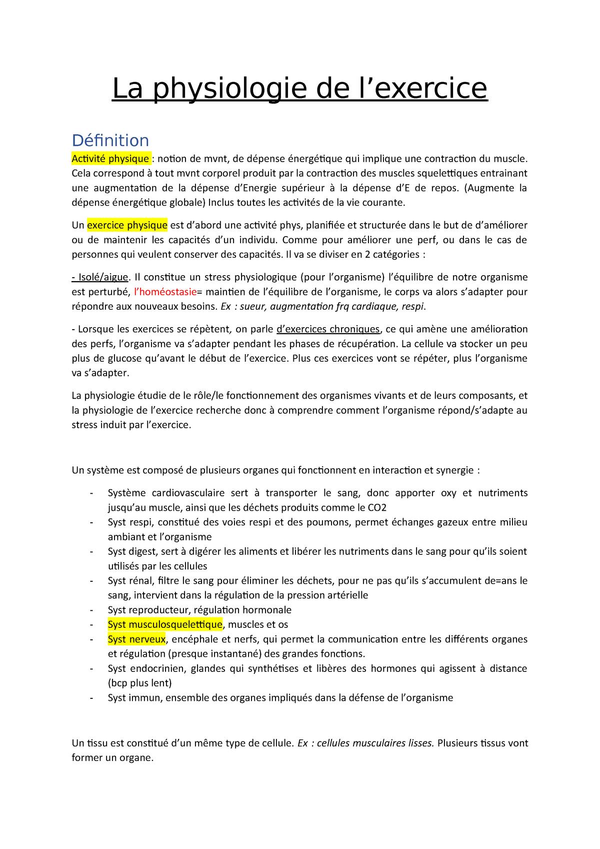 La Physiologie De L Exercice La Physiologie De Physique Notion De Mvnt De Qui Studocu