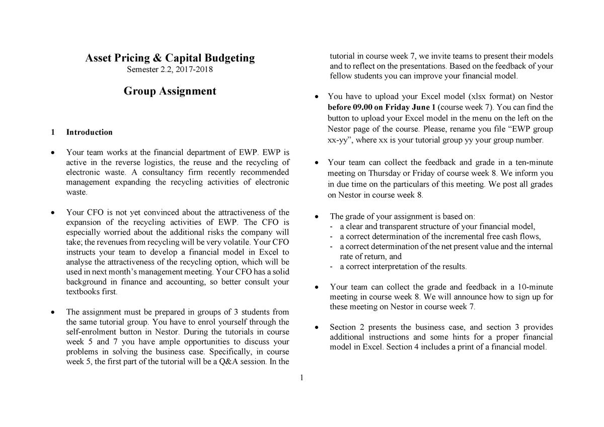 Asset pricing assignment Ewaste Final - EBP032A05 - RUG