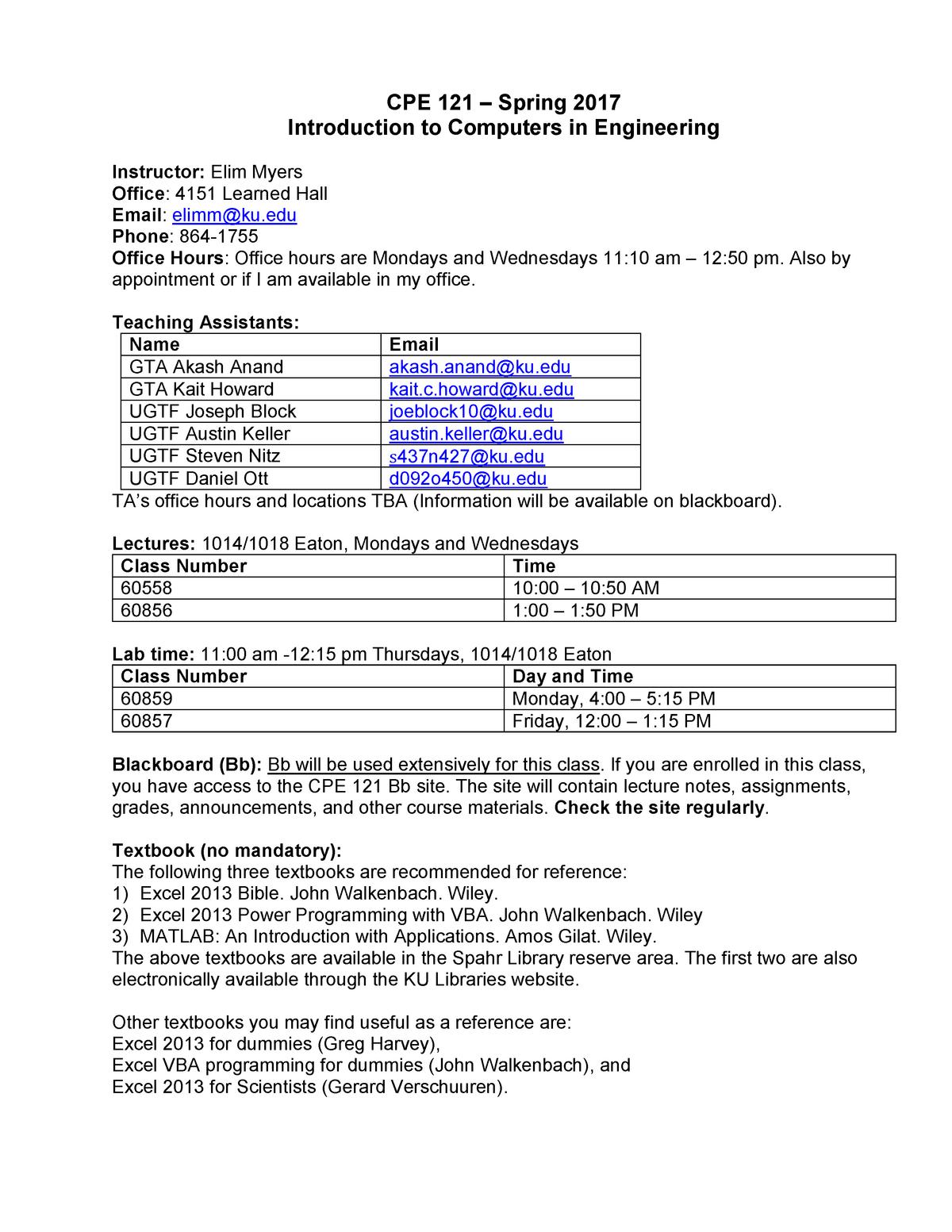 CPE121SP17 Syllabus - C&PE 121: Intro Computers In