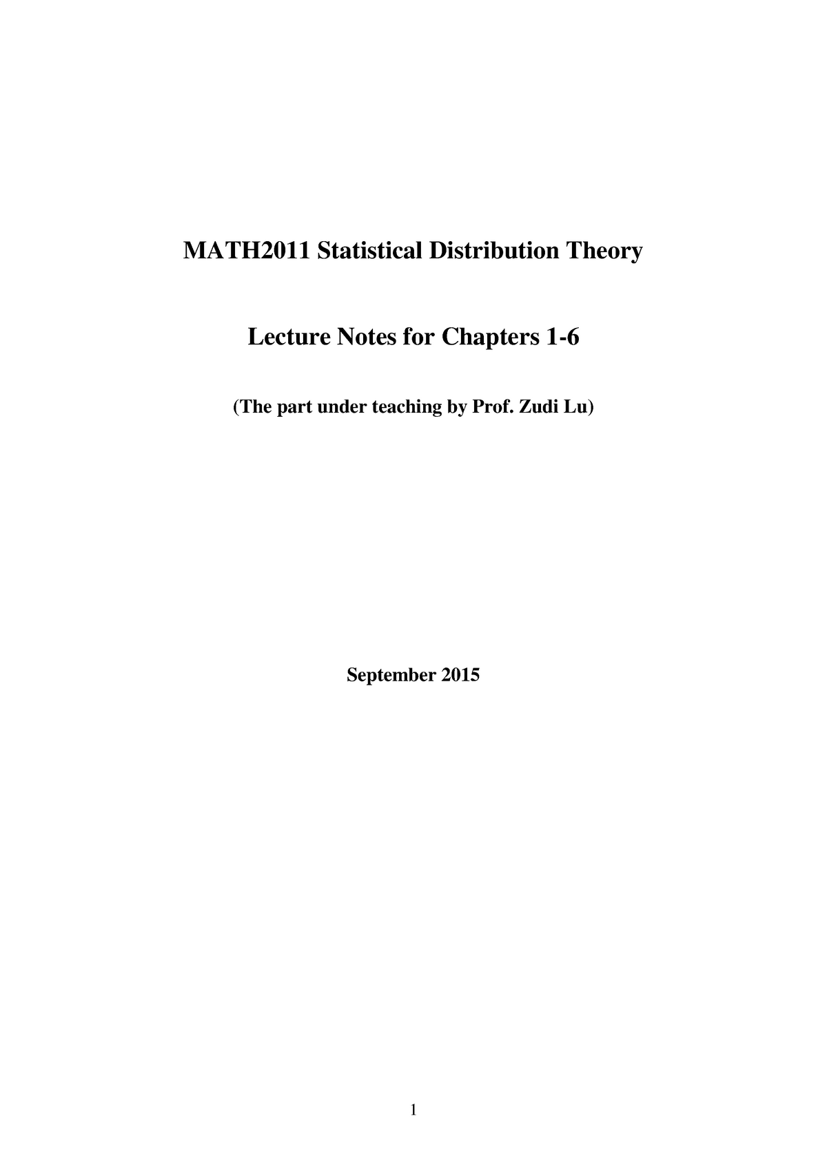 Statistical Distribution Theory - Lecture notes - Chapter 1 - 6