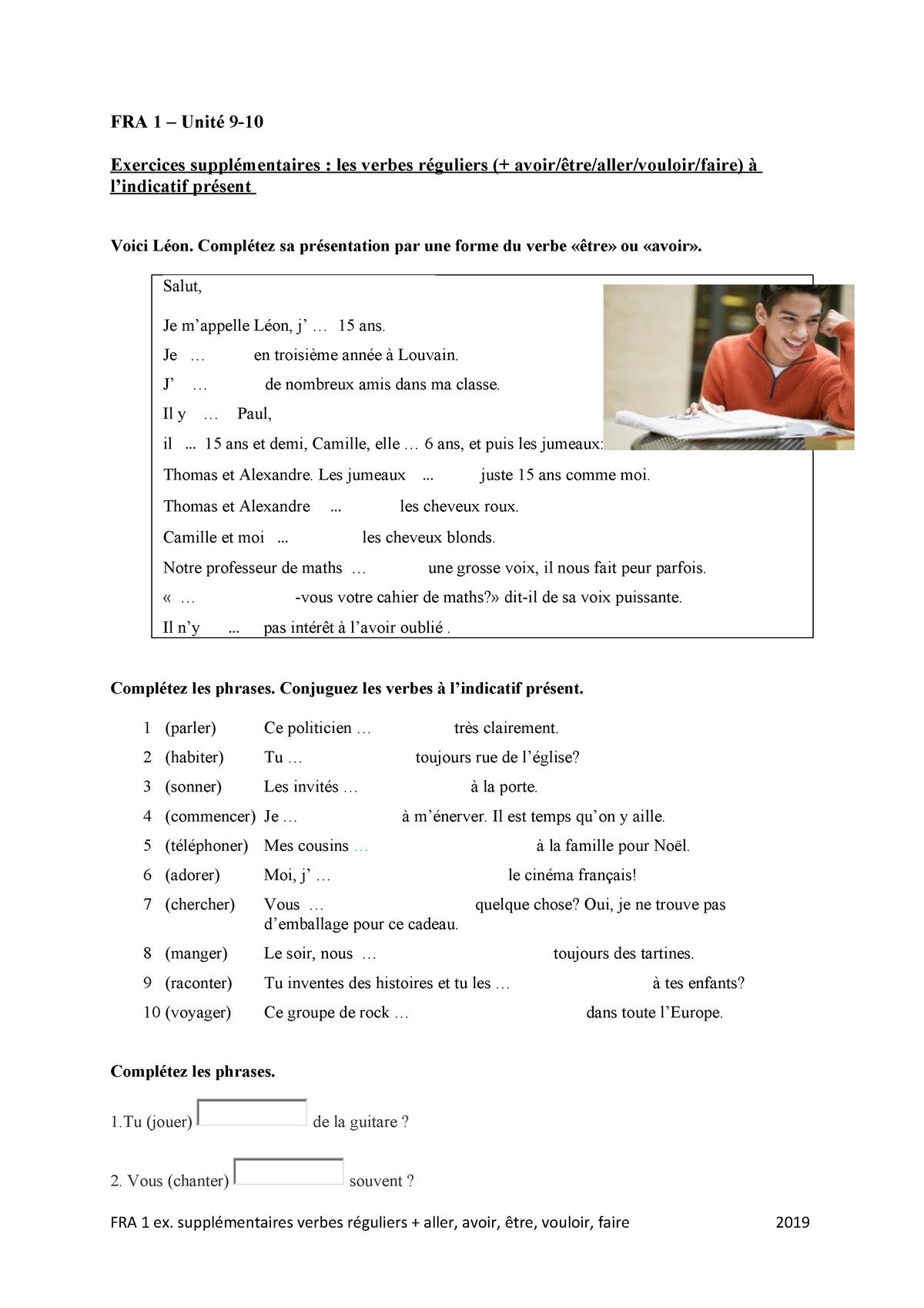 Unite 9 10 Exercices Supplementaires Les Verbes Reguliers Studocu