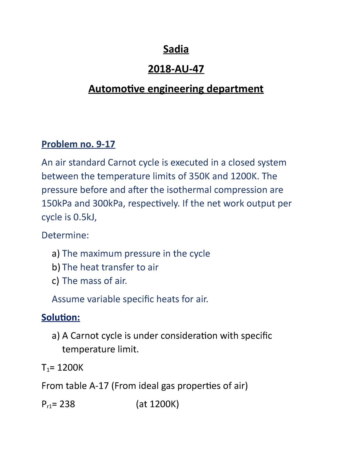 thermodynamics 1 - EE 452 - UET Lahore - StuDocu