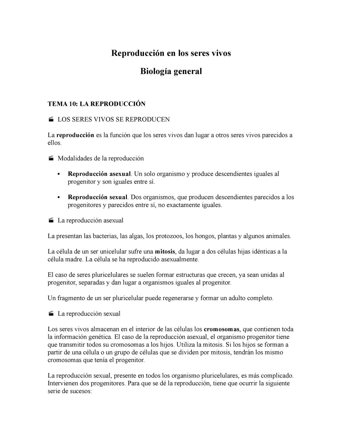 Reproducción De Seres Vivos Biología General Uabcs Studocu