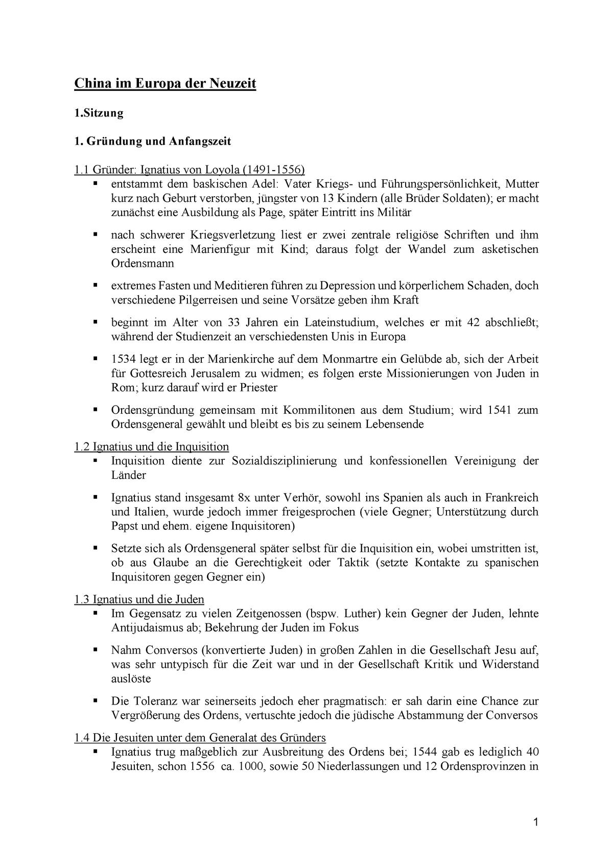 China im Europa der Neuzeit - 0208001: Einführung in die