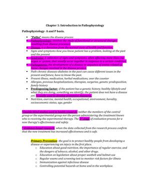 Patho physiology notes ch 1,2, 21 - NR-283 - StuDocu