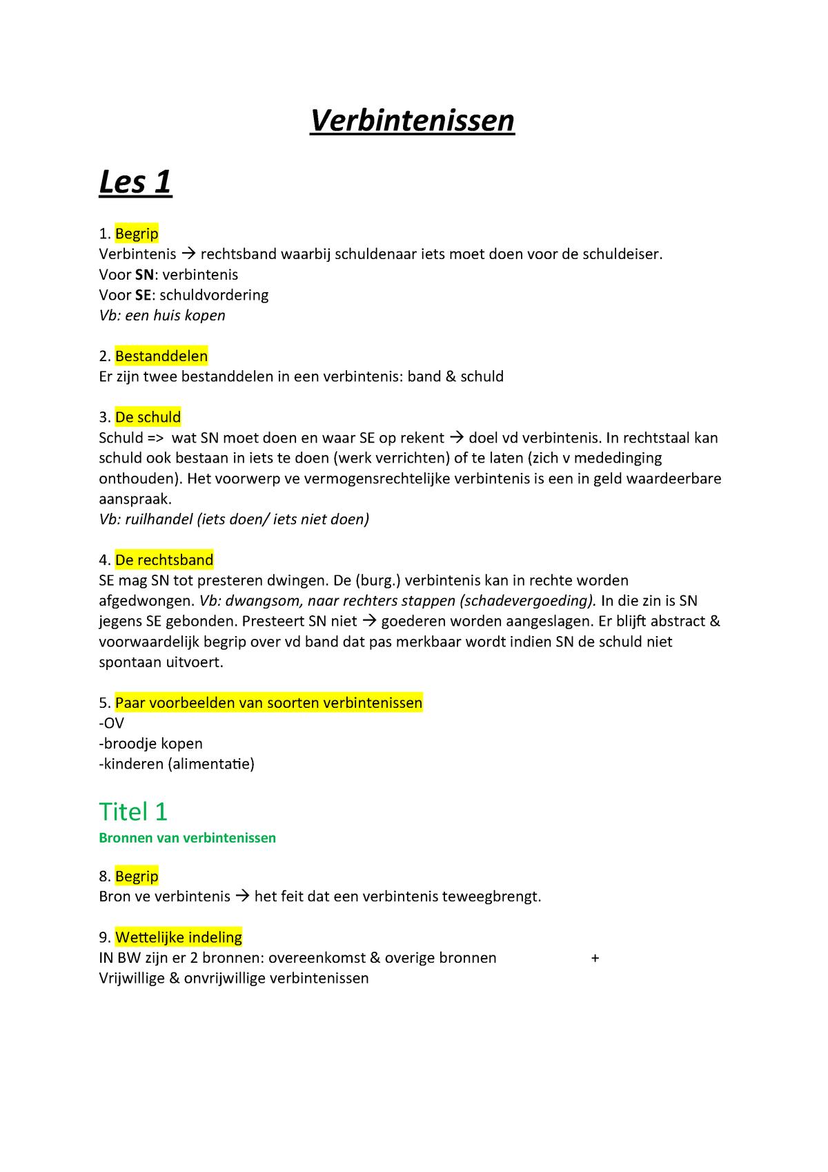 Verbintenissen College Aantekeningen Module 1