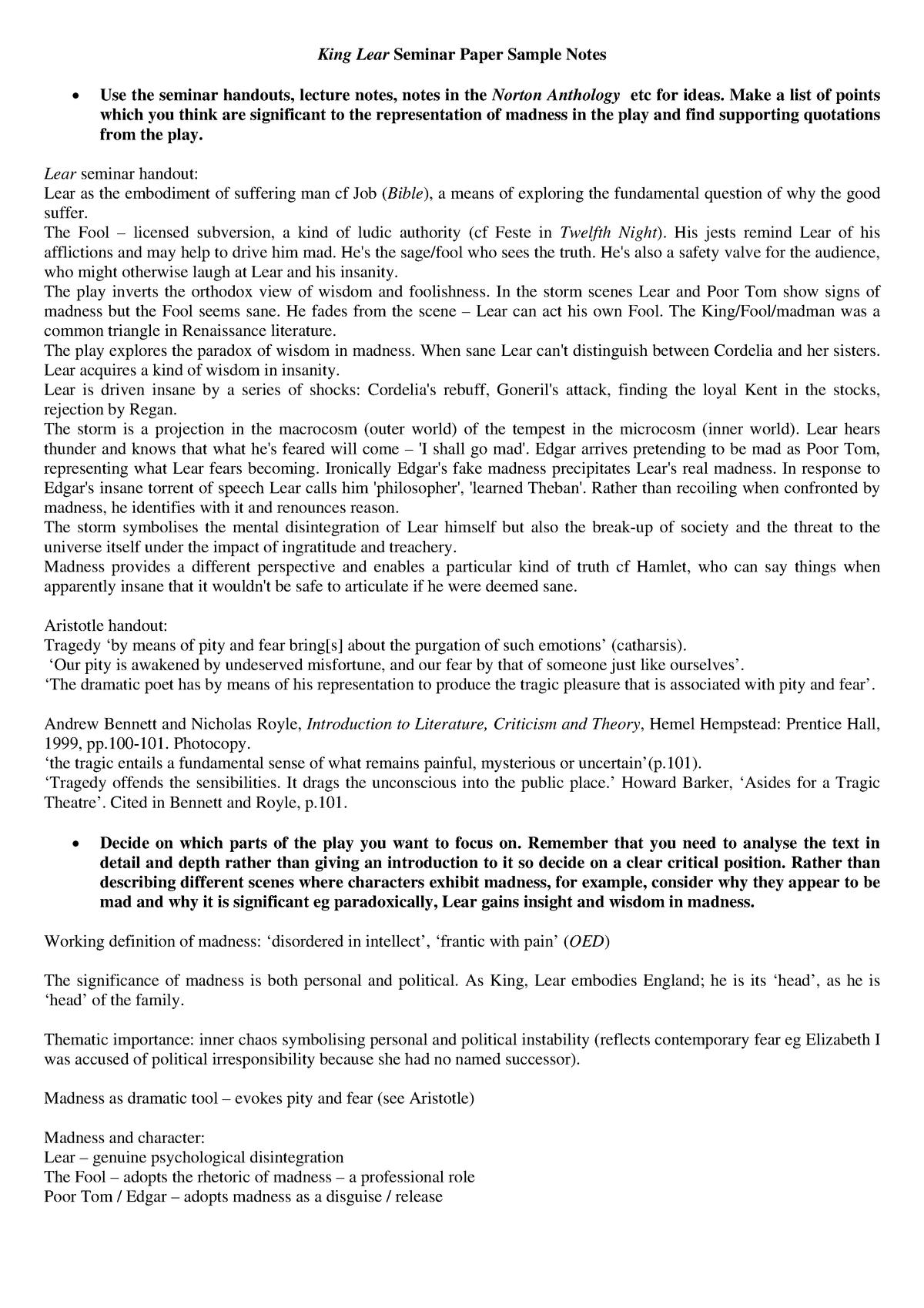 King Lear Presentation Notes Answers - Q3W8 BA/ESCW: English