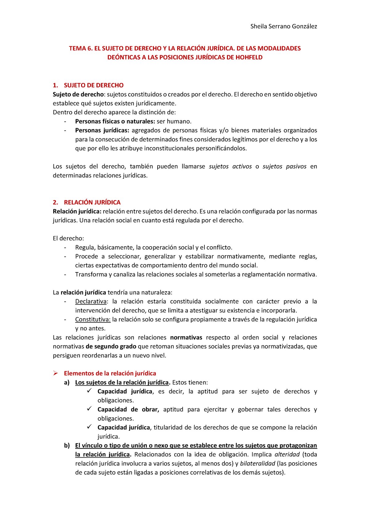 3973d66d5fac Tema 6. El sujeto de derecho y la relación jurídica de las - StuDocu