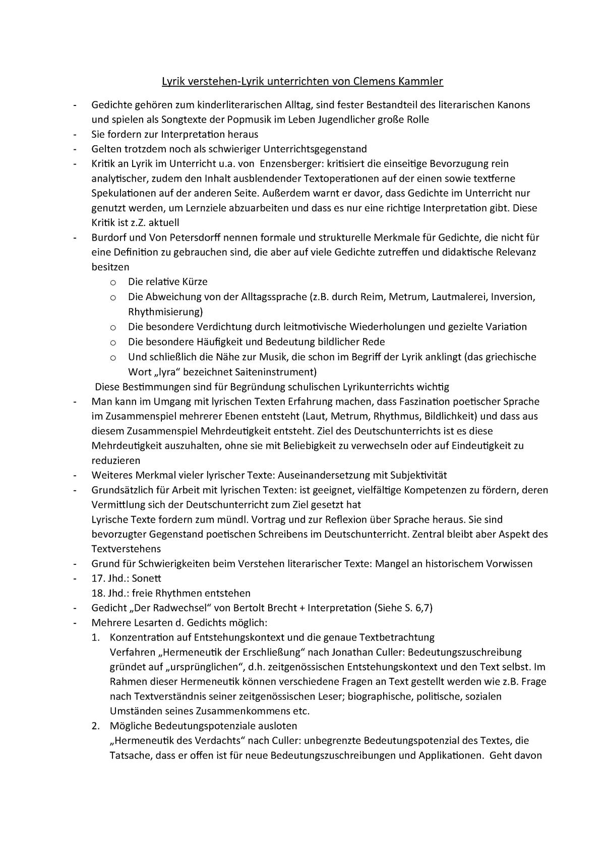 01 Zusammenfassung Text Lyrik Verstehen Lyrik Unterrichten