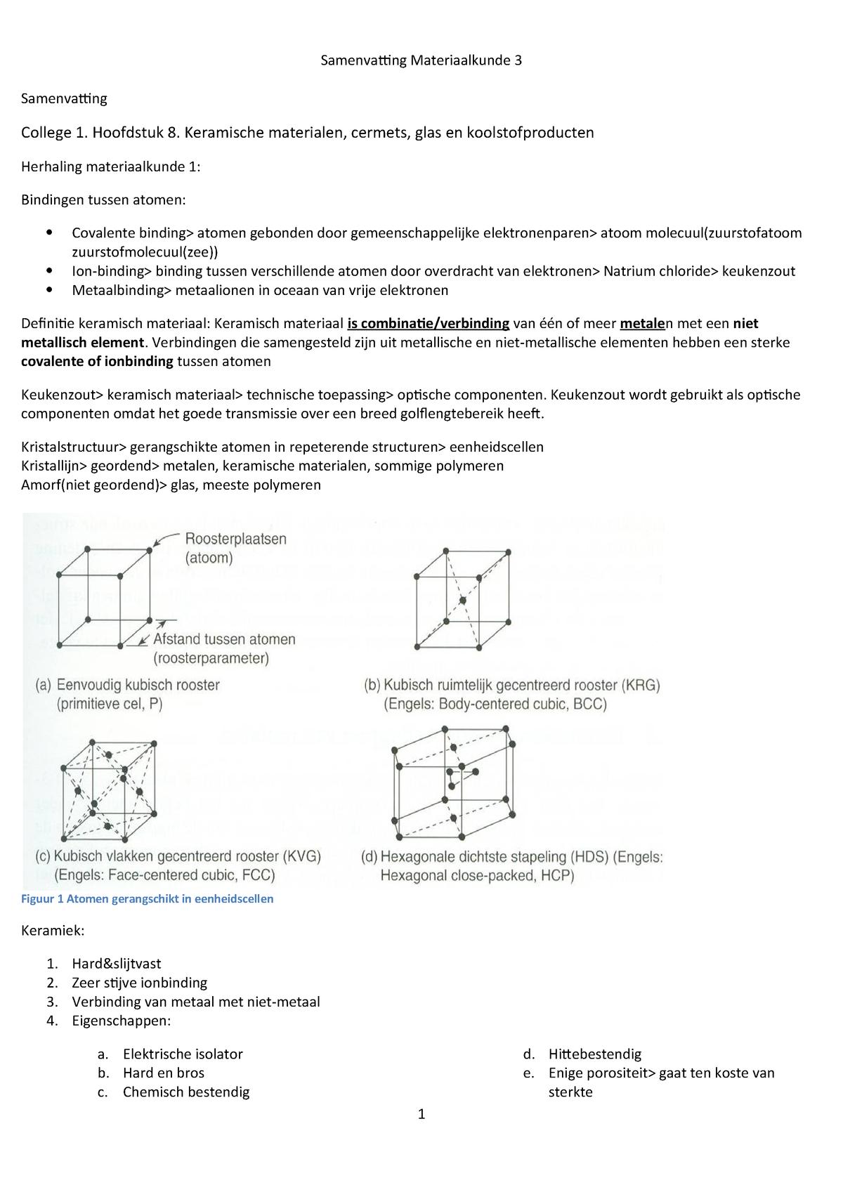 Samenvatting Materiaalkunde 3 Bt10mk3xx001 Studeersnel