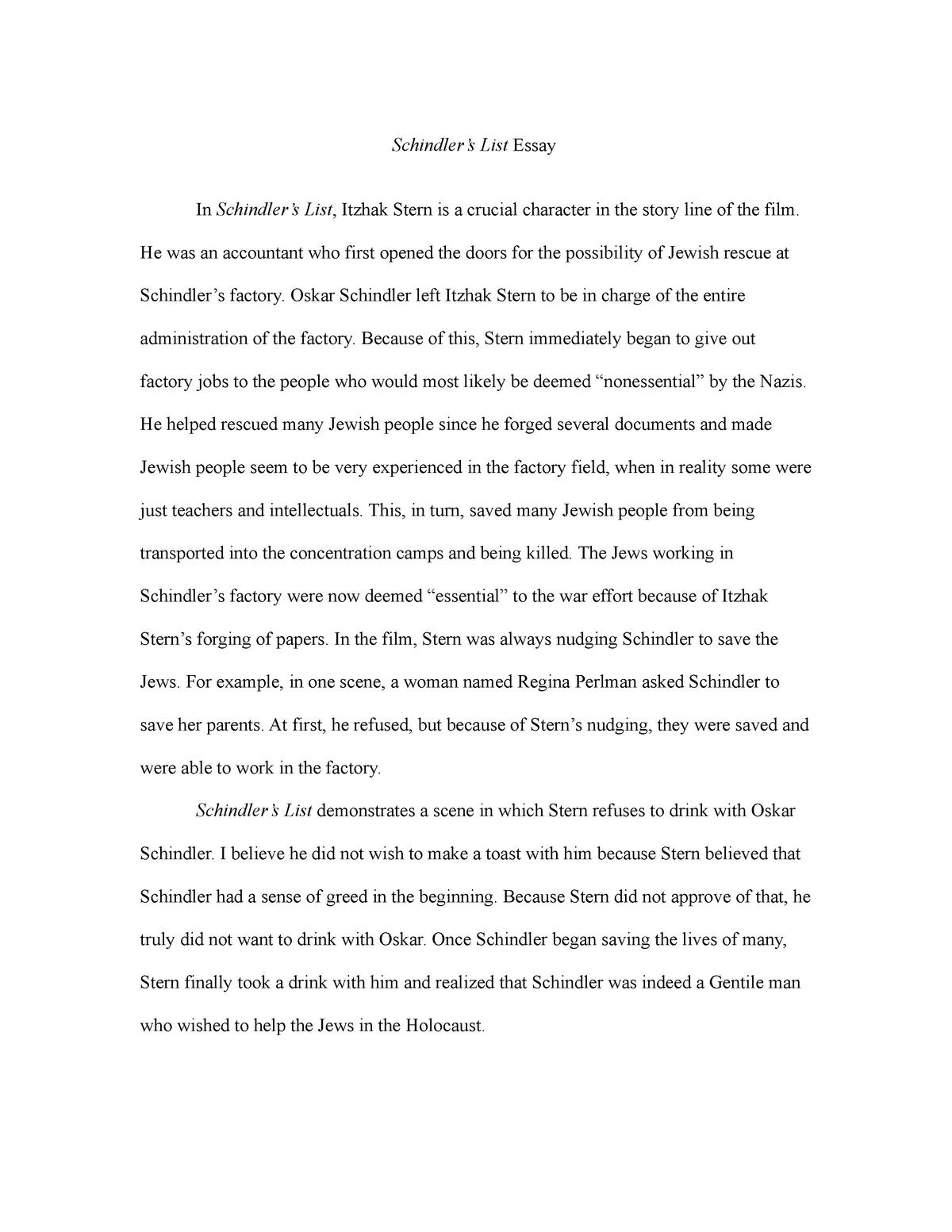 Schindlers list film essay