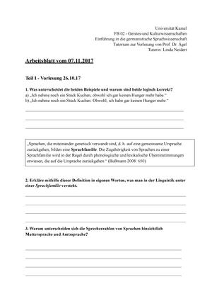 Arbeitsblatt 2. - Einführung in die germanistische ...