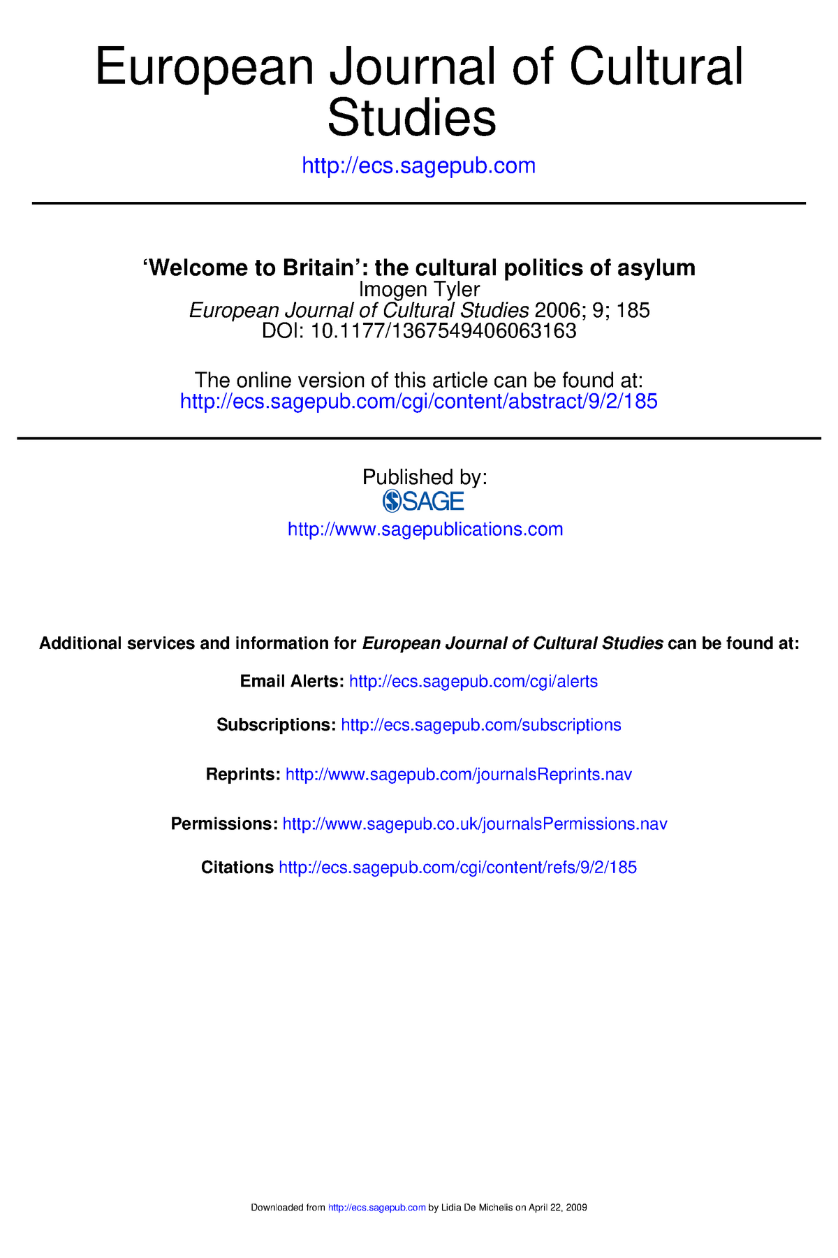 Welcome to Britain cultural politics asylum m1 - L-12: Mediazione