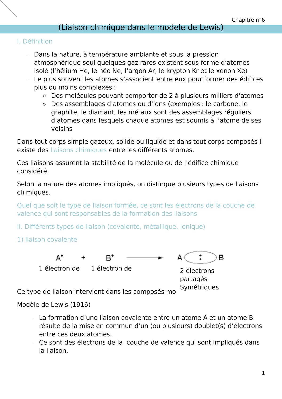Chapitre 6 Atomes Et Molecules Studocu