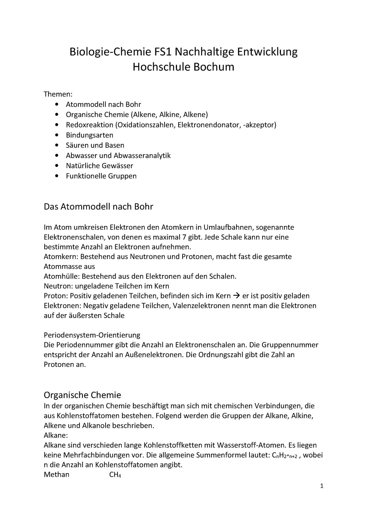 Biologie Chemie Zusammenfassung Fs1 Biologie Th Köln