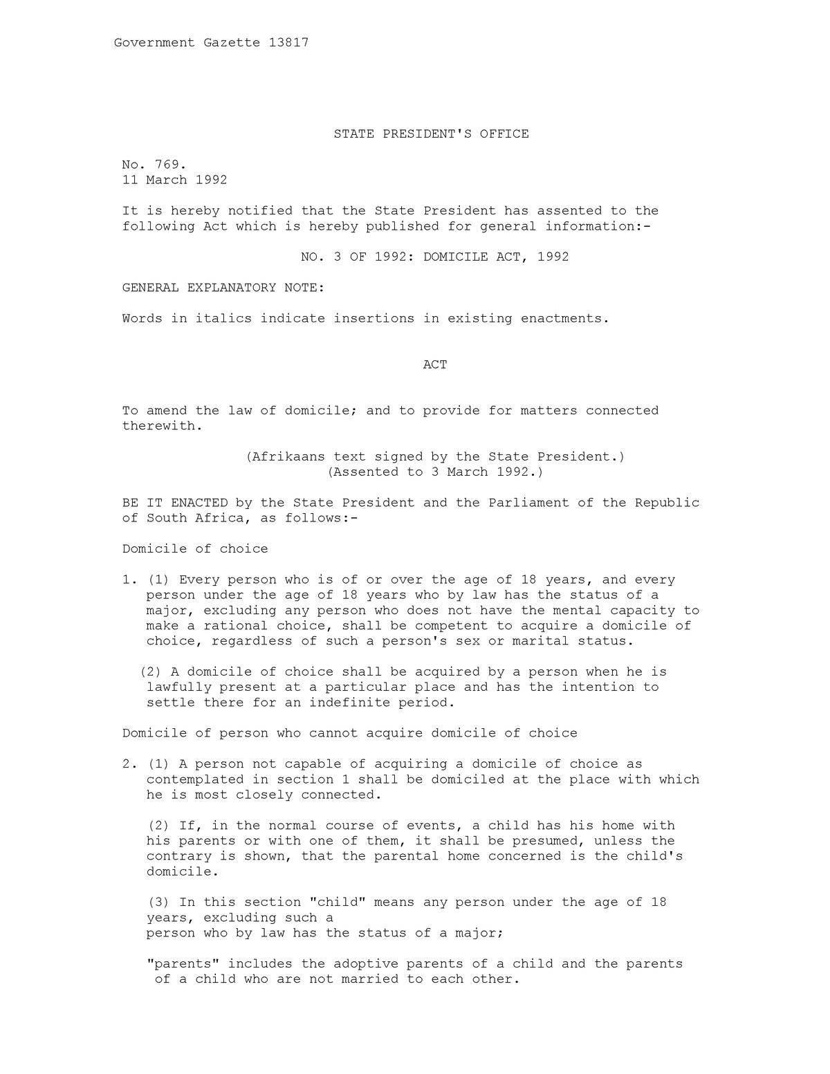 Domicile Act 10 of 10 - StuDocu