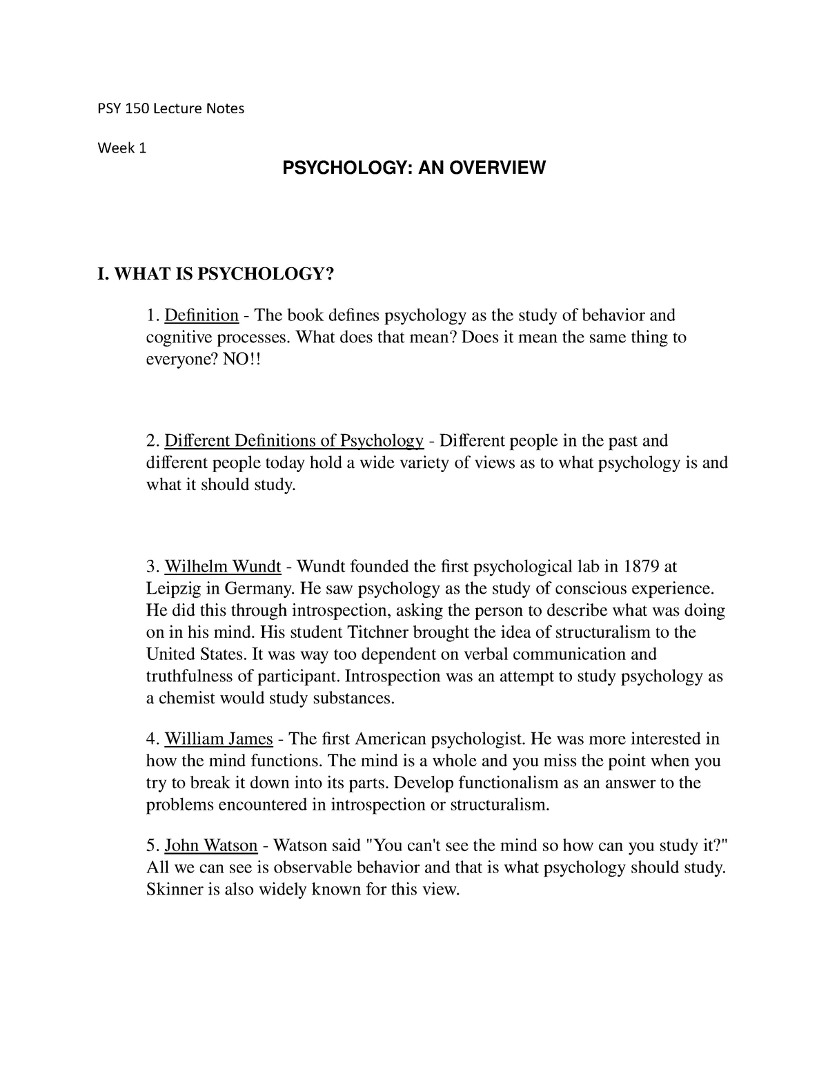 PSY 150 Lecture Notes - PSY 150: Introduction to Psychology - StuDocu