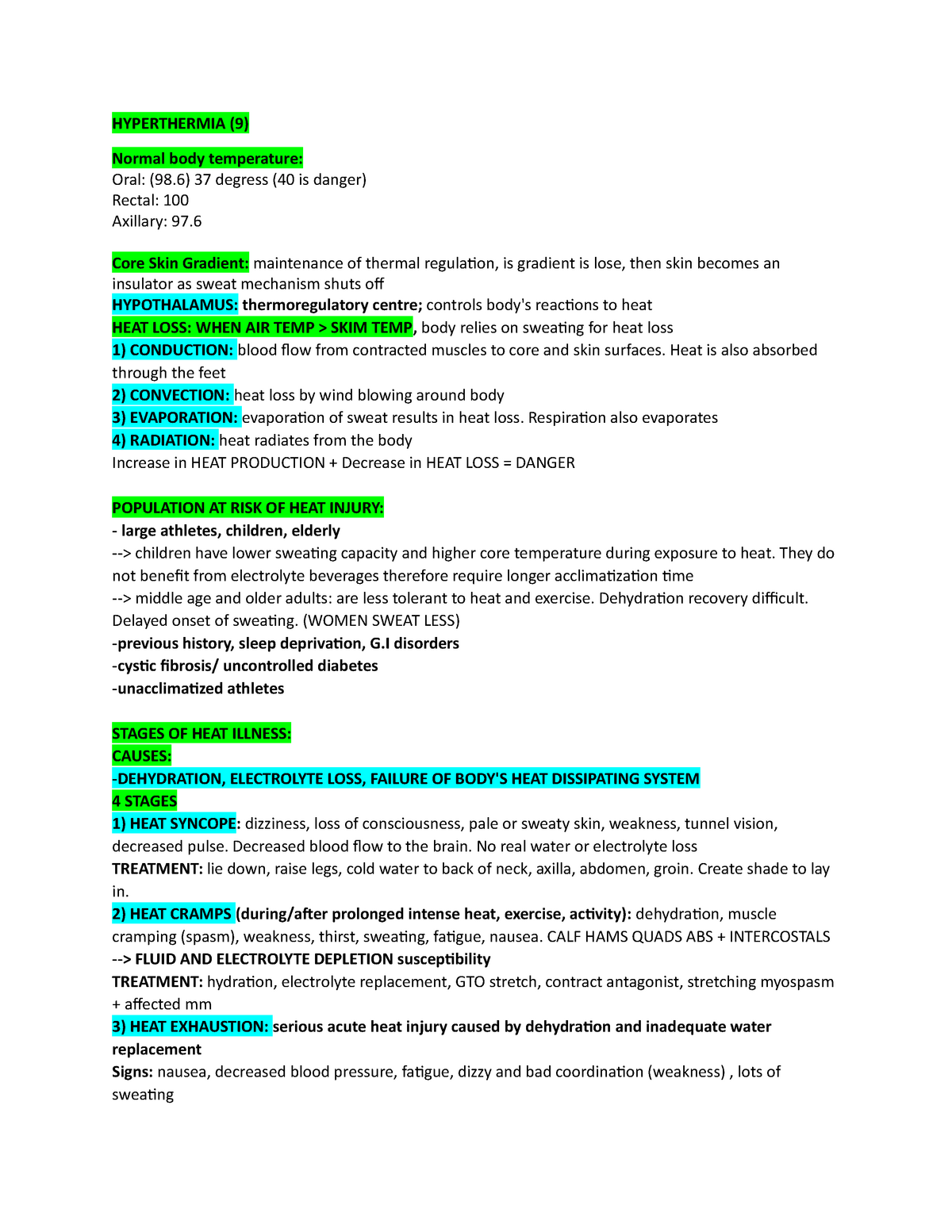 Lecture notes, lectures 6-12 - Final Exam Courses - Hh/Kine