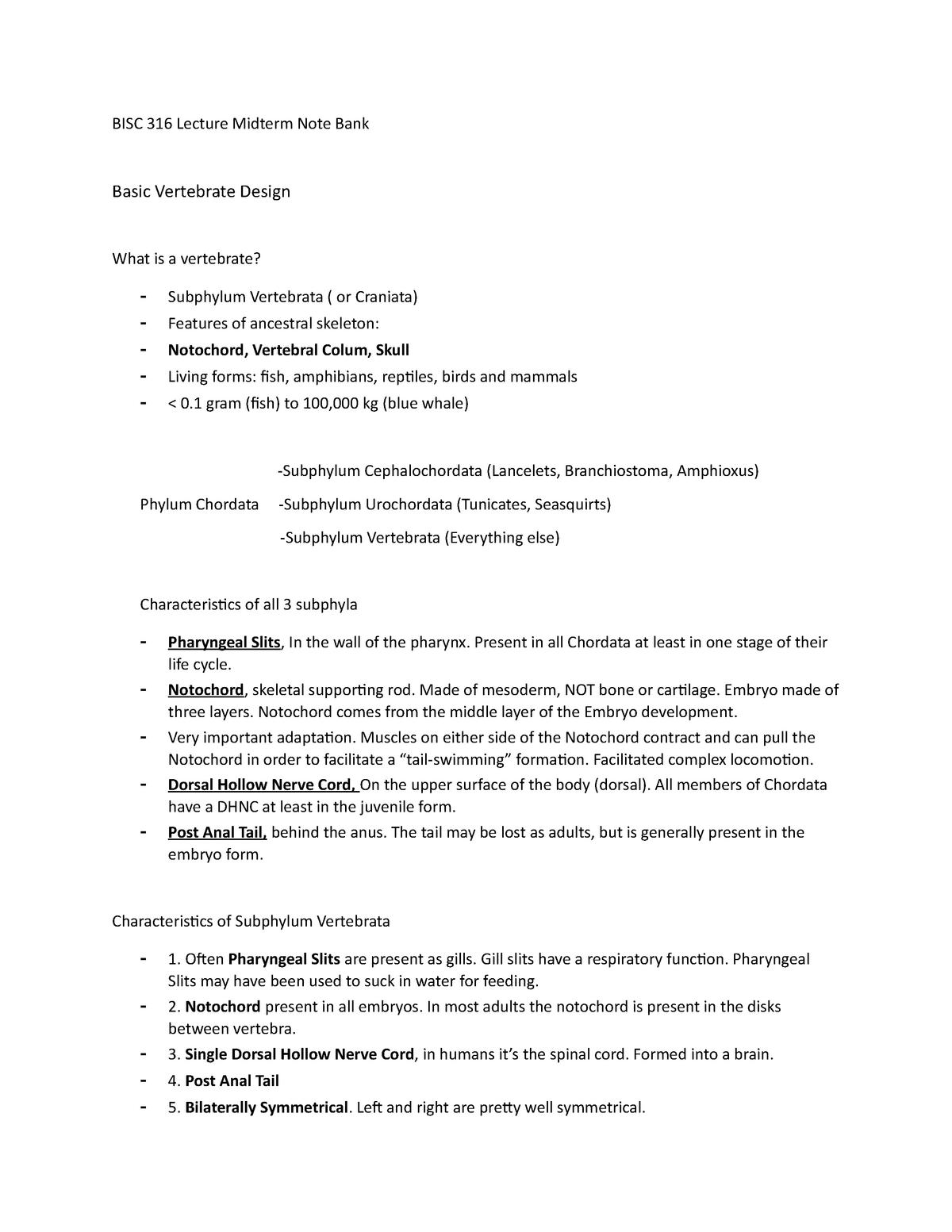 BISC316 Lecture Midterm Note Bank - Bisc 316: Vertebrate Biology