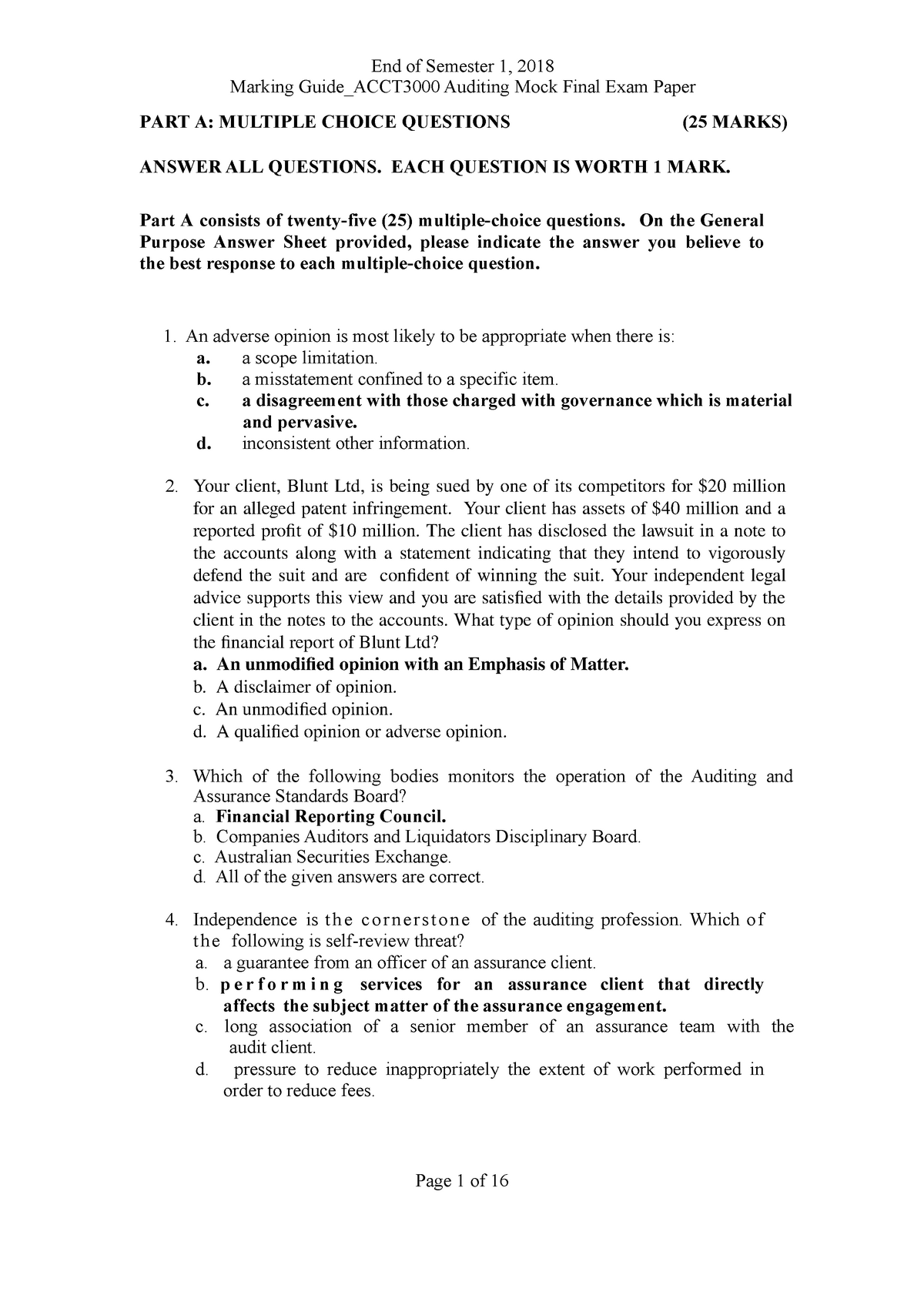 ACCT3000 Auditing Marking Guide Mock Final Exam Paper