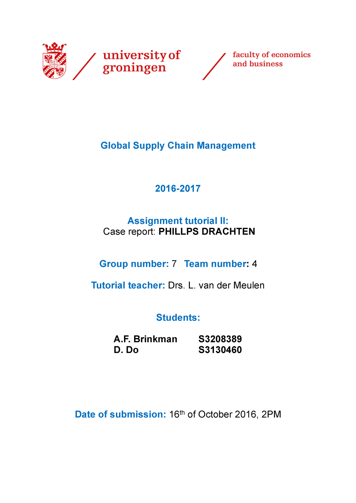 Group 7 4 Case Philips Drachten PDF - EBP018A05: Global