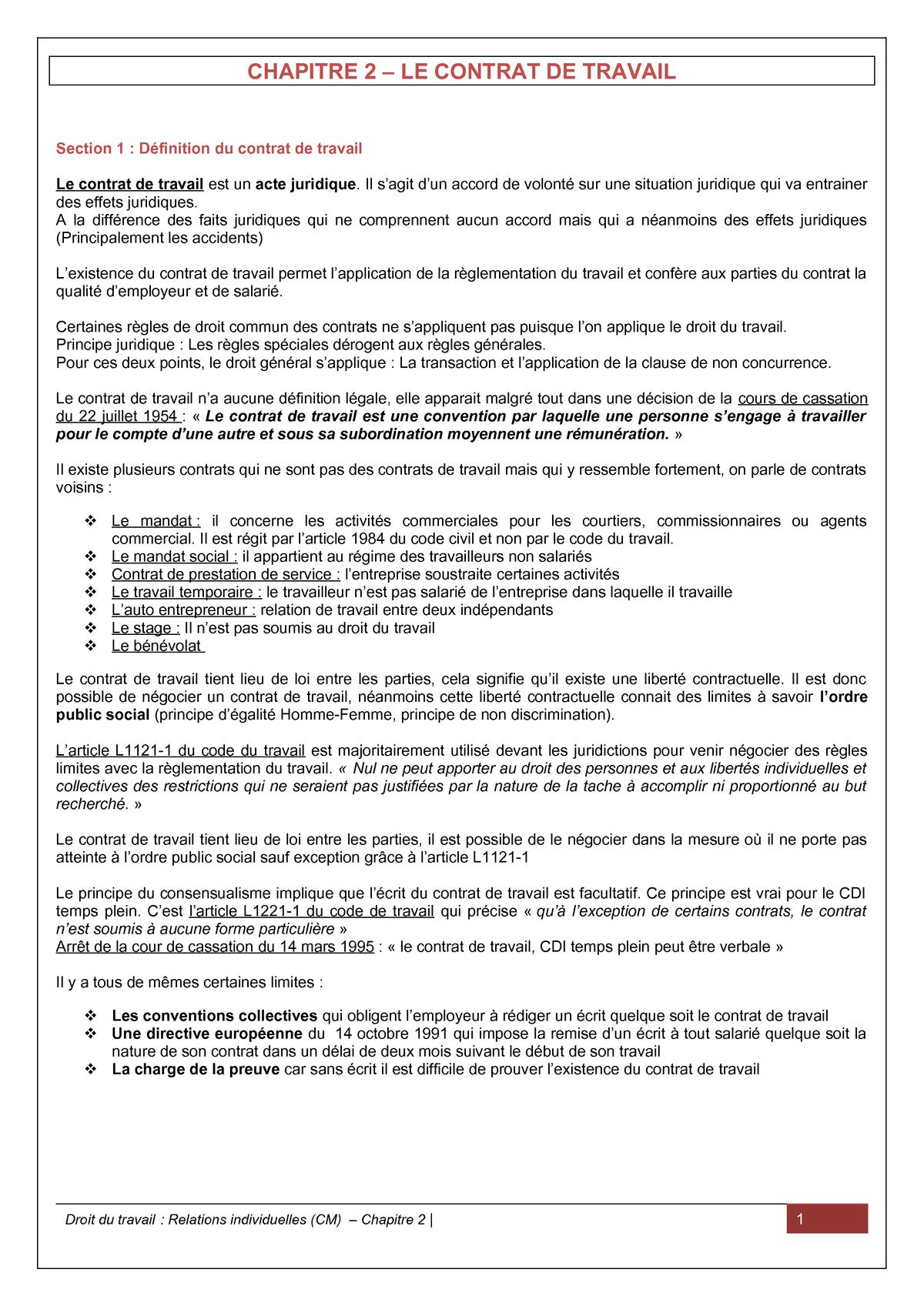 Le Contrat De Travail Universite D Orleans Studocu