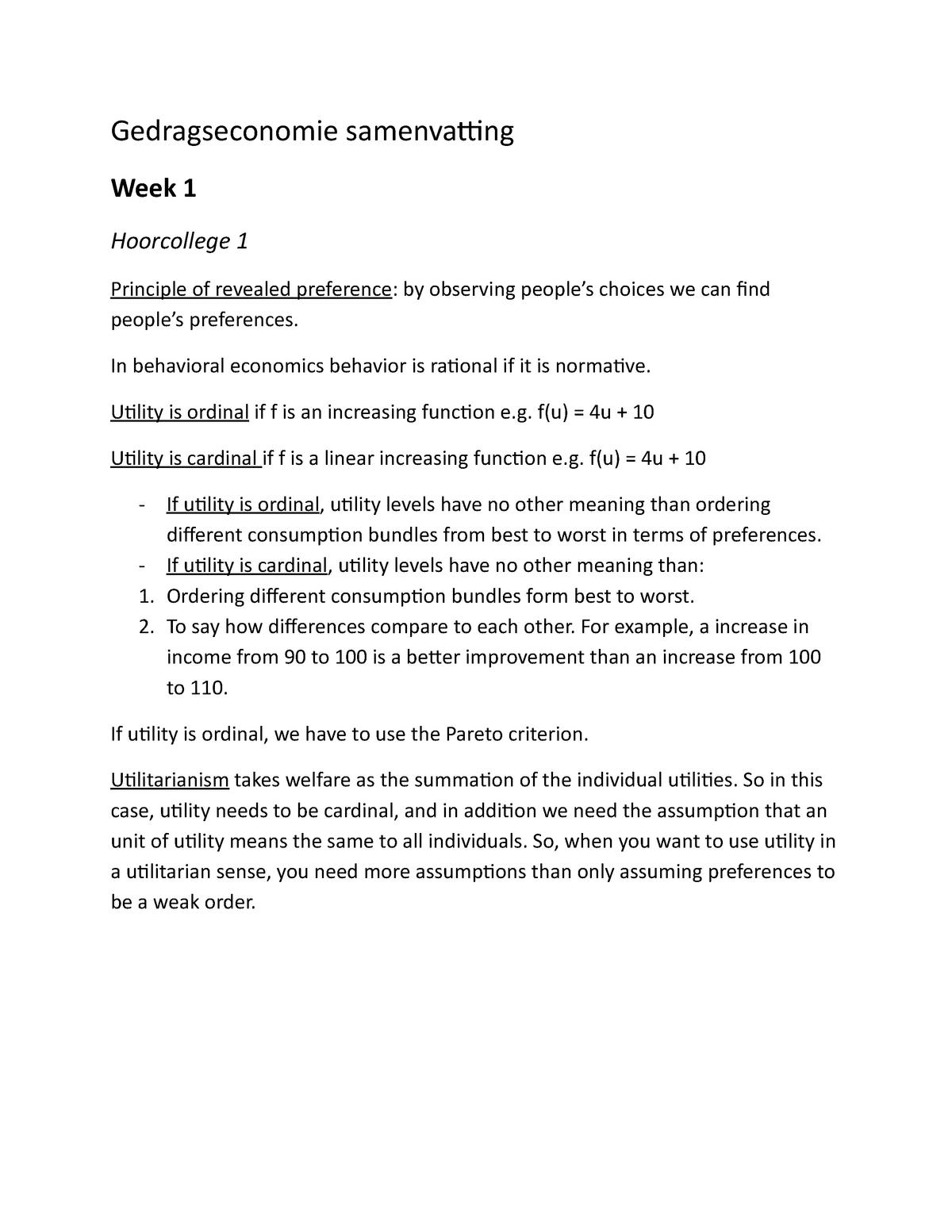 Inleiding gedragseconomie samenvatting - FEB12015: Inleiding