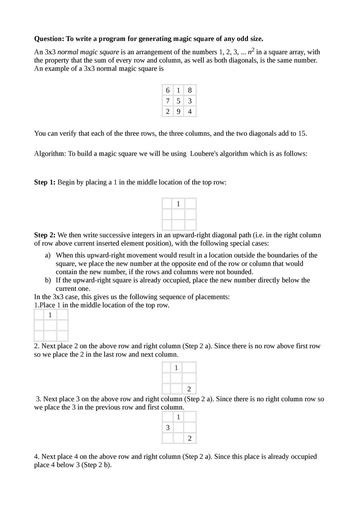 Magic-square - CS-103: Computer Programming - StuDocu