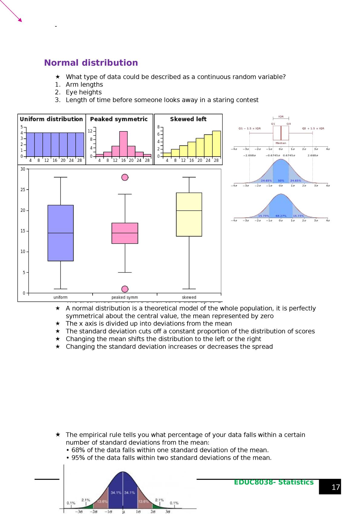 Normal distribution, correlation and regression, survey