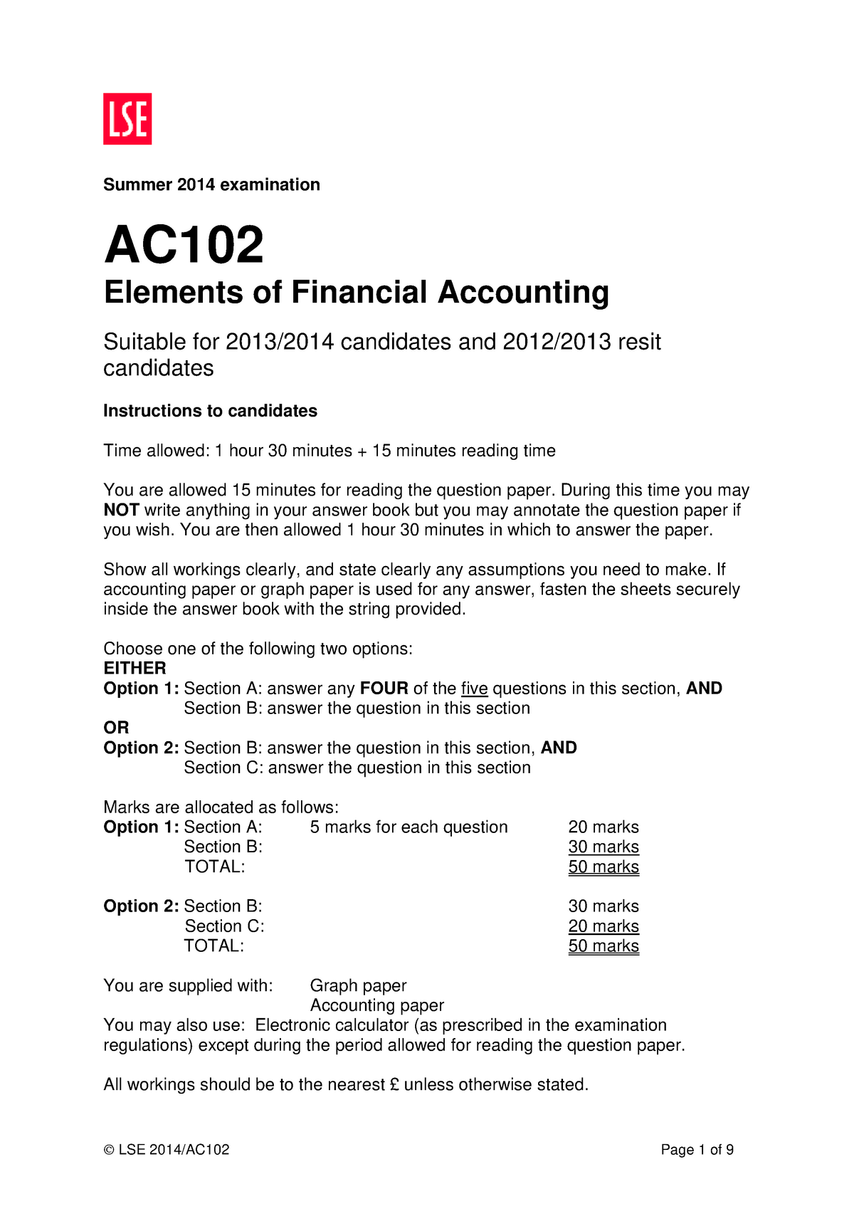 AC102 - notes - AC102: Elements of Financial Accounting - StuDocu