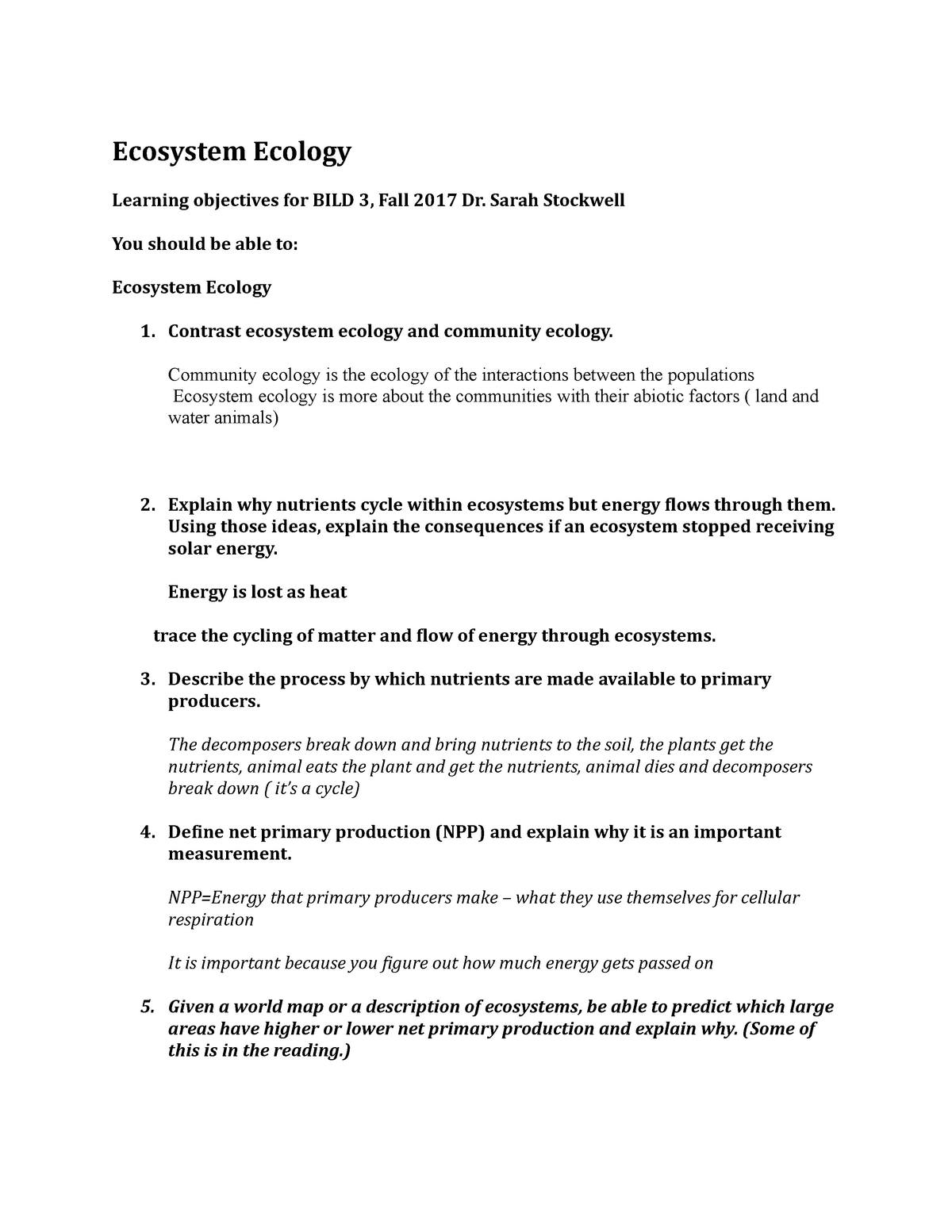 Learning Objective -15  Ecosystem Ecology - BILD 3 - StuDocu
