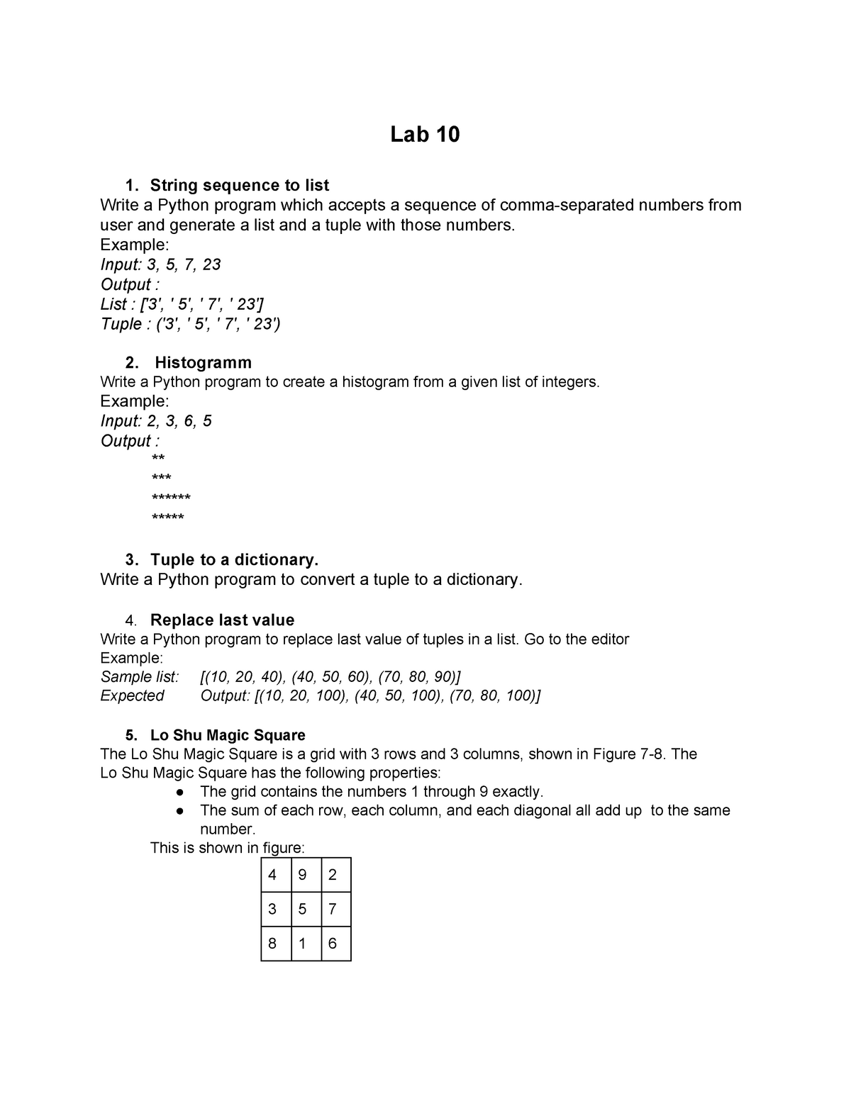 Lab 10 Week 11 - This is the Tutorial Sheet for the tenth