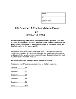Exam 2006 - Life Sciences 1A - StuDocu