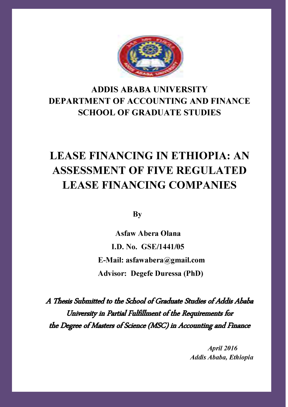 Asfaw Abera lease in ethiopia - BUS 520: Managerial Accounting - StuDocu