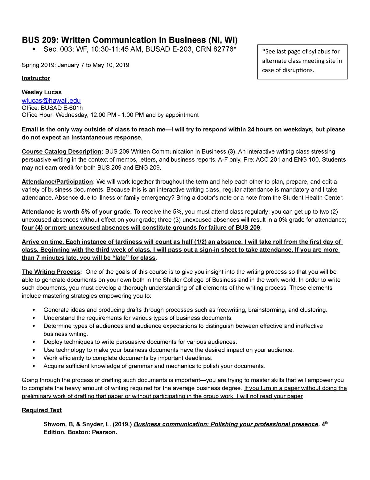 WF Spring 2019 BUS 209 Syllabus, Sec 3 - BUS209: Written