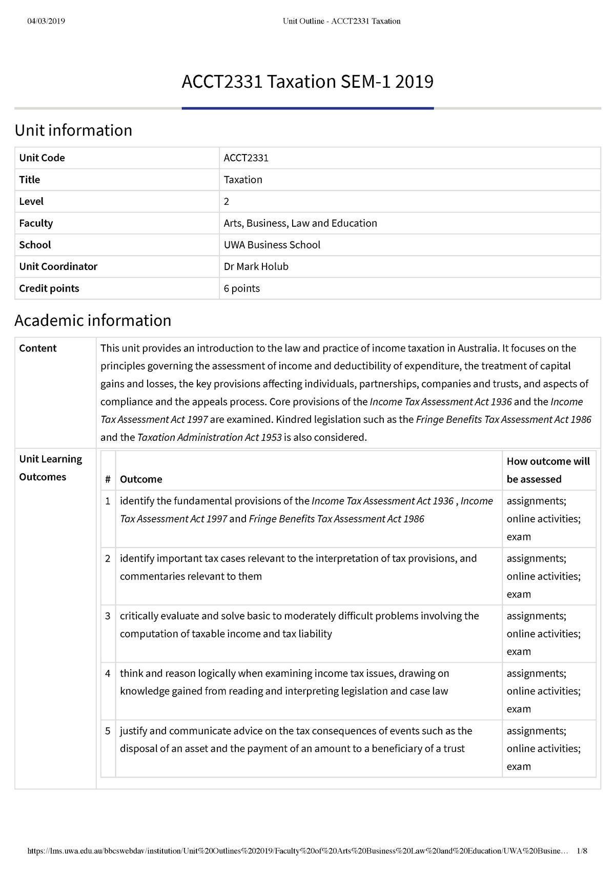 Unit Outline - ACCT2331 Taxation - StuDocu