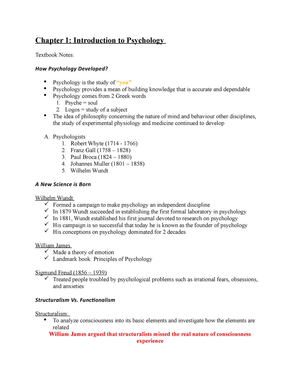Chapter 1 - Introduction to Psychology - PSYC 1010 - StuDocu