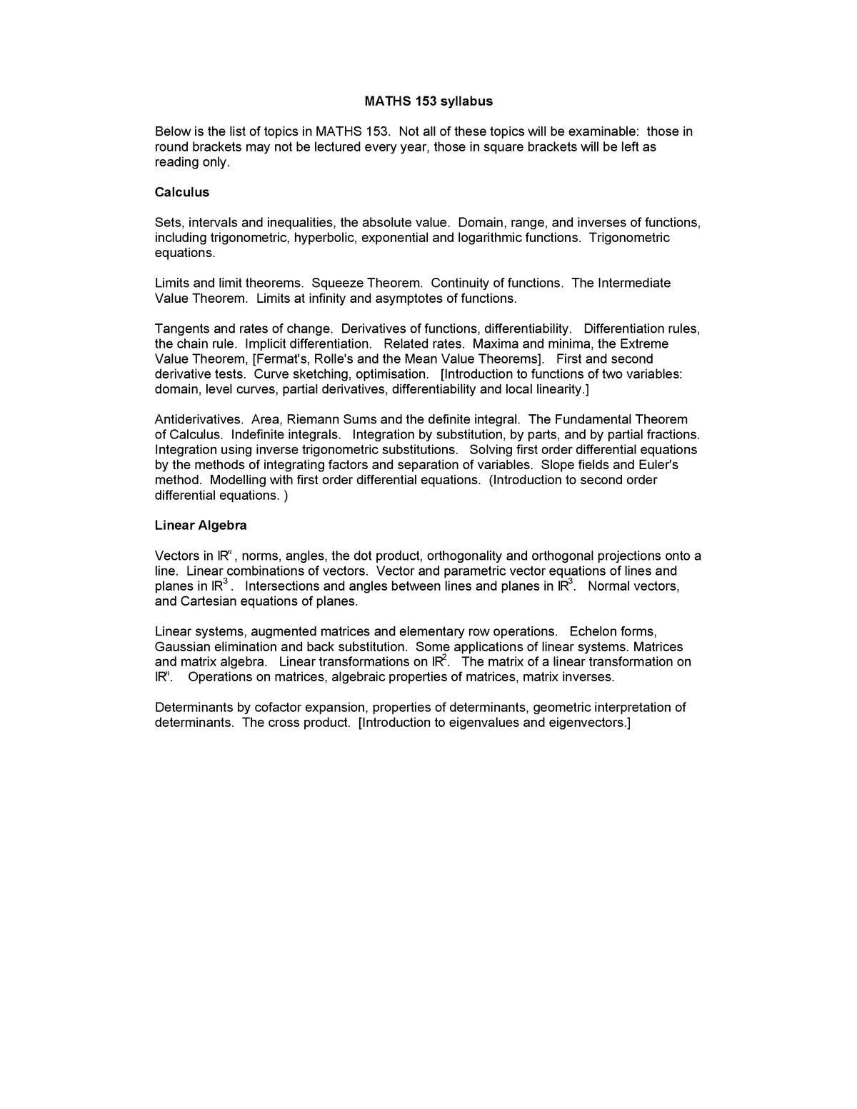 MAXSyllabus - Accelerated Mathematics MATHS153 - StuDocu