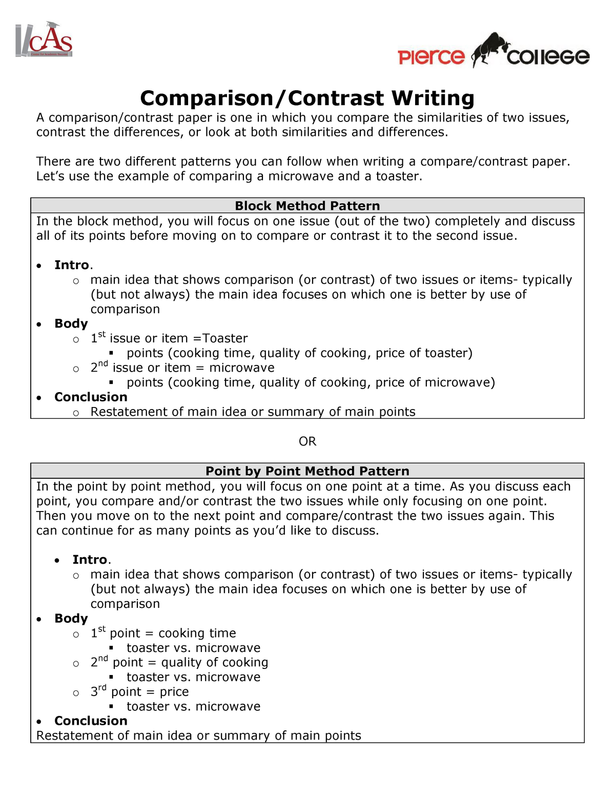 Comparison Contrast Writing Eng 101 English Studocu
