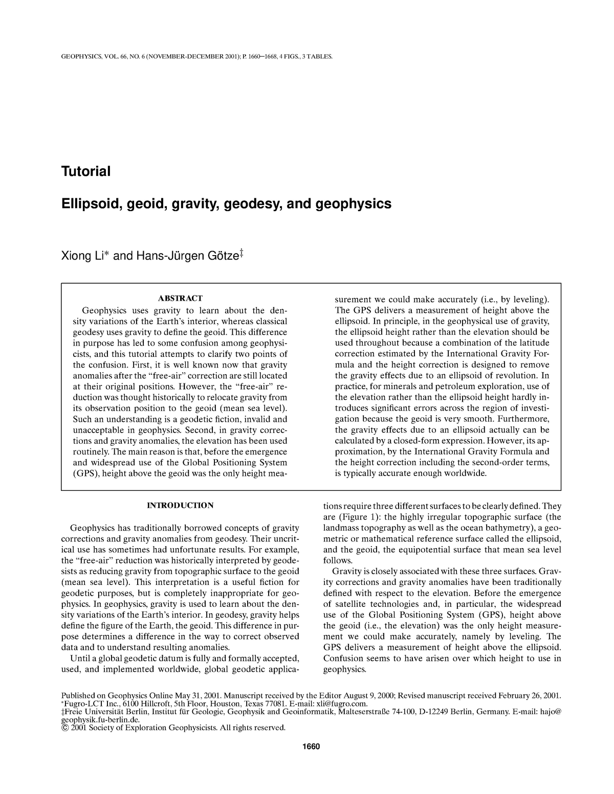 Li G Tut - Tutorial Ellipsoid, geoid, gravity, geodesy, and