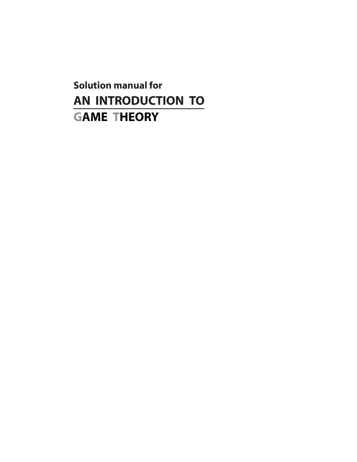 Osborne An Introduction To Game Theory Solutions