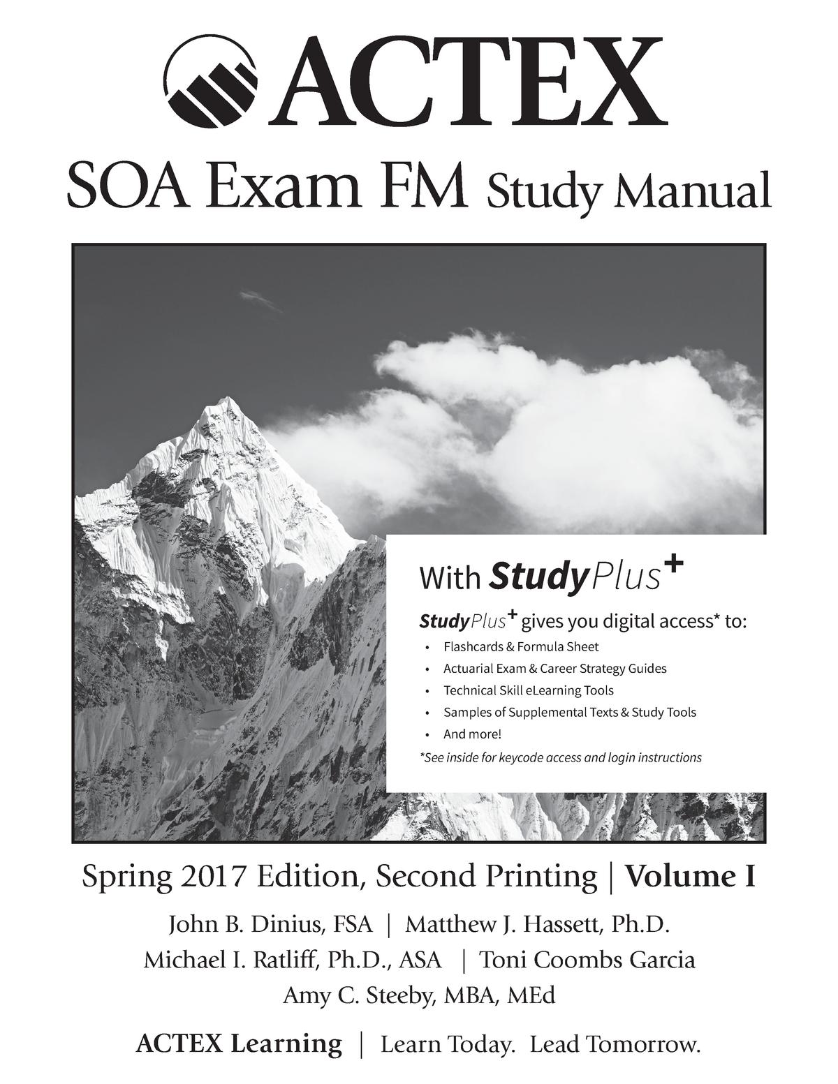 Actex Soa Exam Fm Study Manual With Stud Actex Soa Exam Fm Study Manual Spring Studocu
