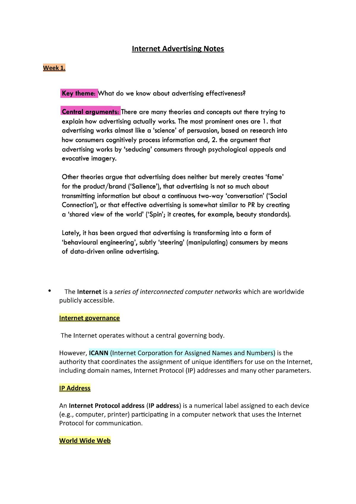 Internet Advertising Notes - ADVT11-140: Internet Advertising - StuDocu