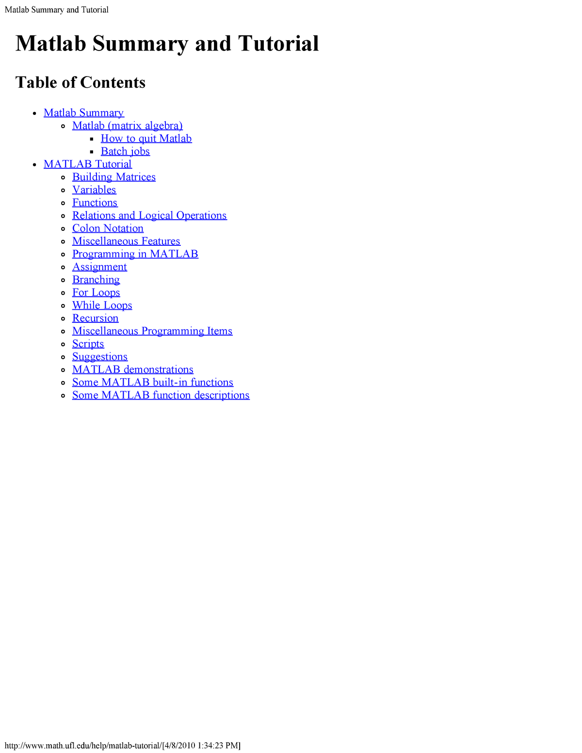 Matlab Tutorial 1 - Lecture notes All the lecture - CBE 502