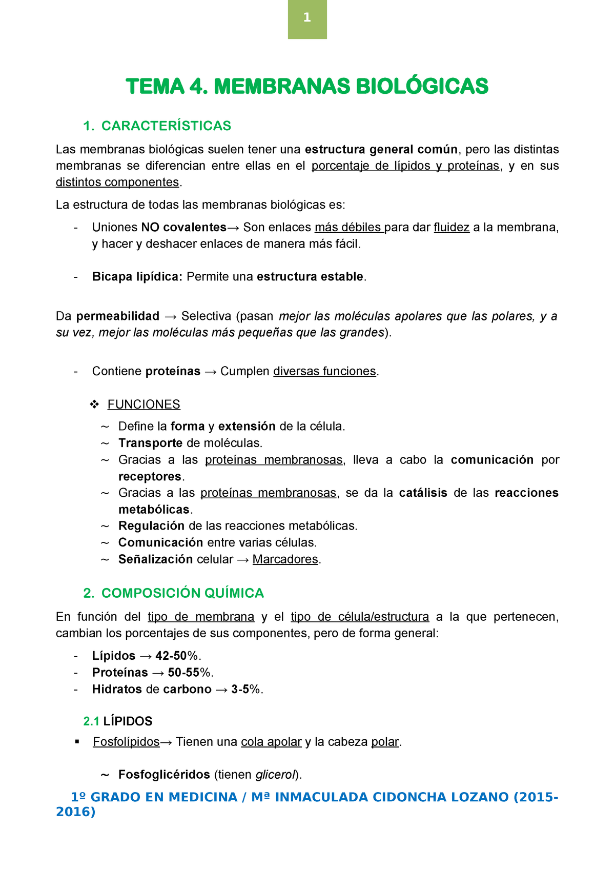 Tema 4 Membranas Biológicas Biología Celular I 9970001104