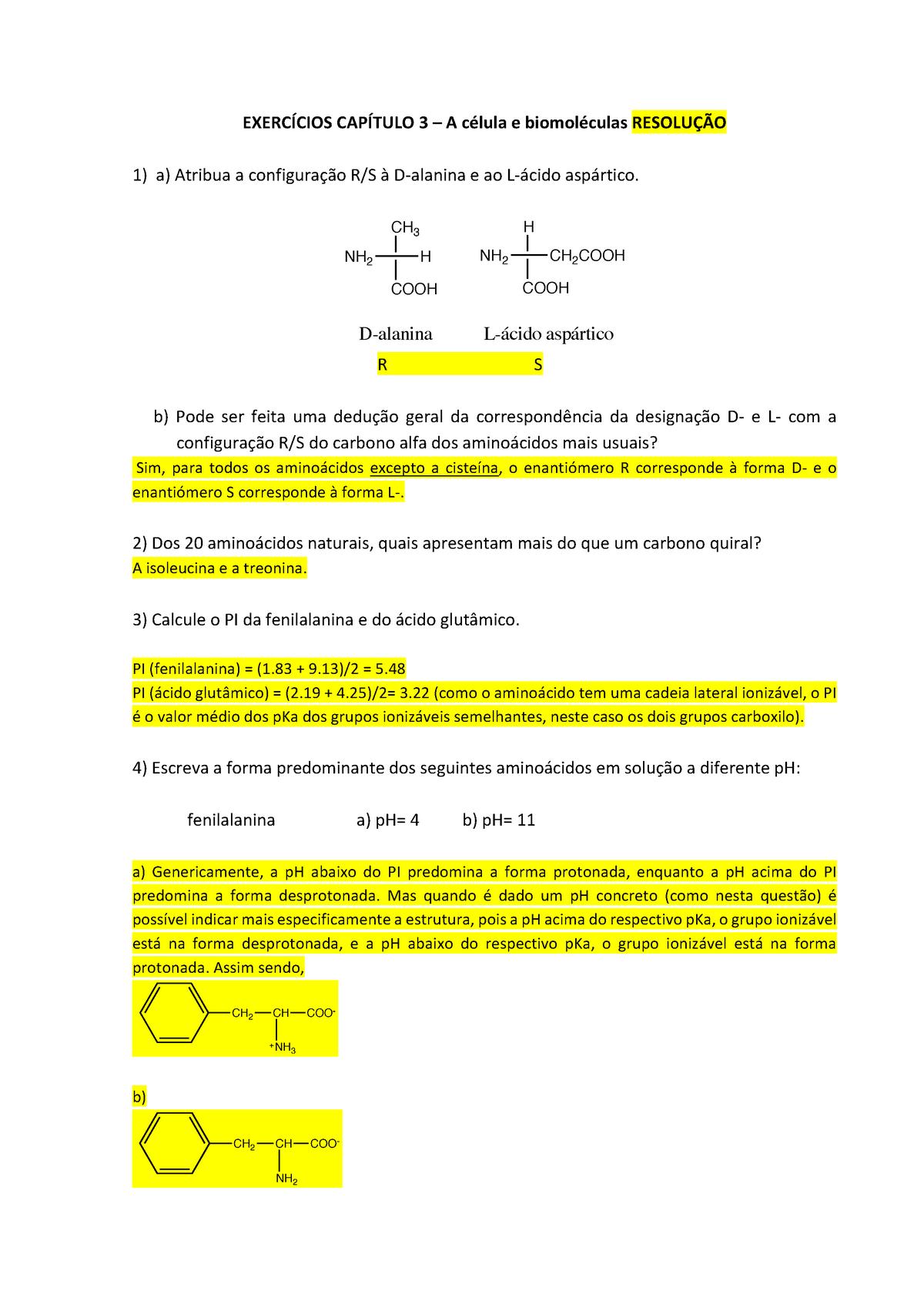Resolução Exercicios Cap 3 Célula E Biomoléculas Studocu