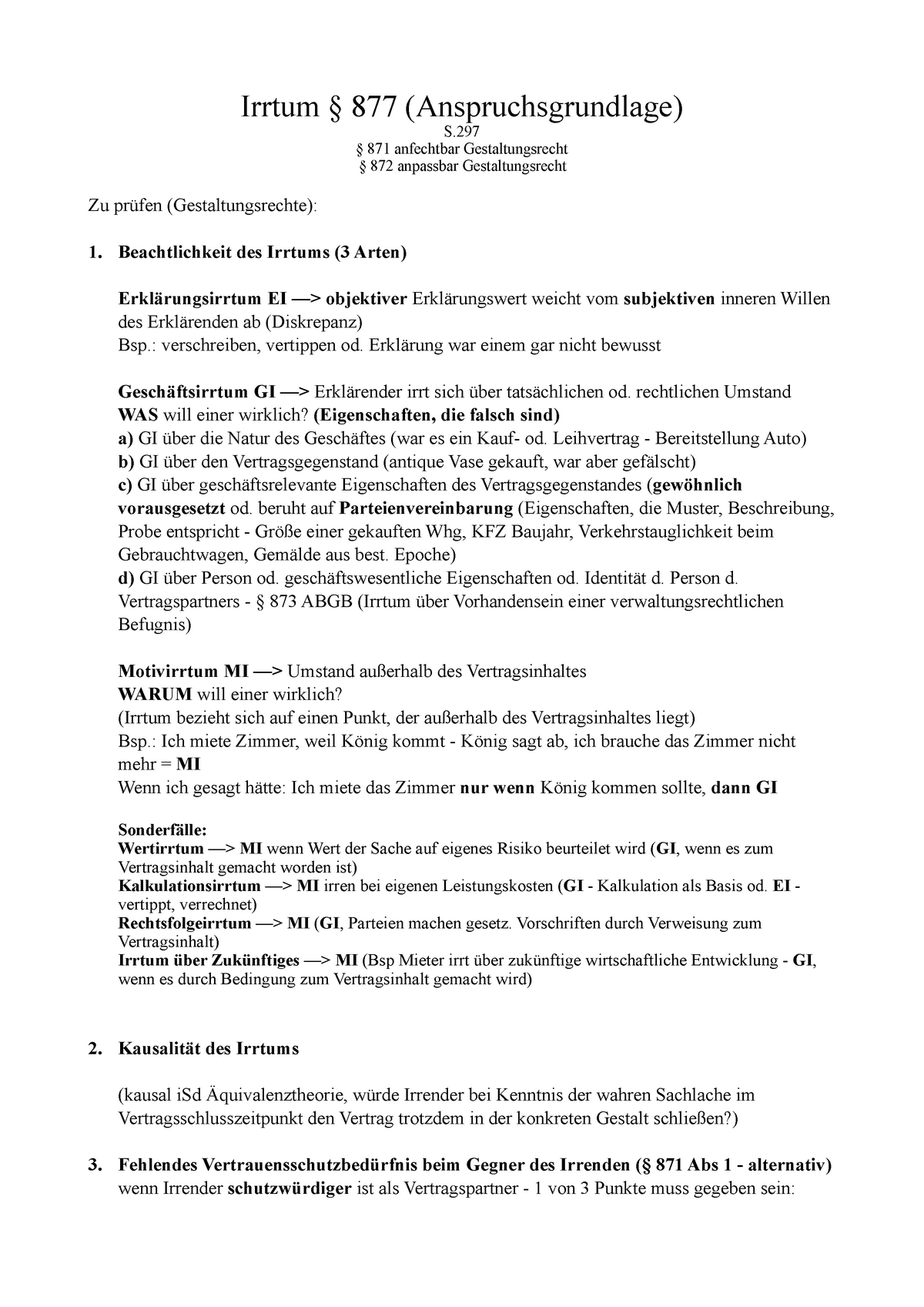 Irrtum   List   Drohung   Laesio Enormis   Wucher   Irrtum § 20 ...