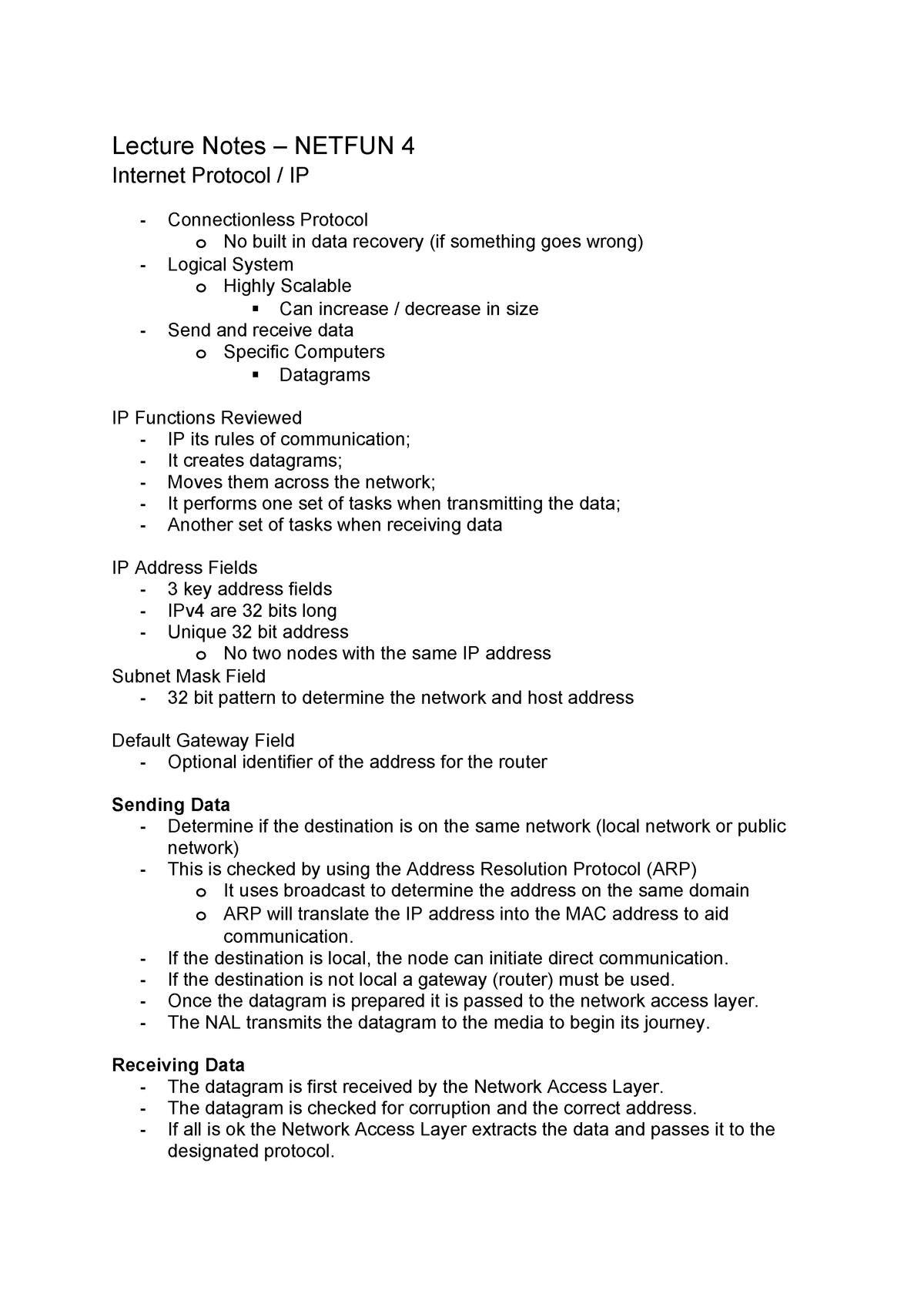 Internet Protocols - network fundamentals - StuDocu